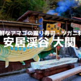 秋しか開いていない安居渓谷【大関】新鮮なアマゴの握りずしは絶品!
