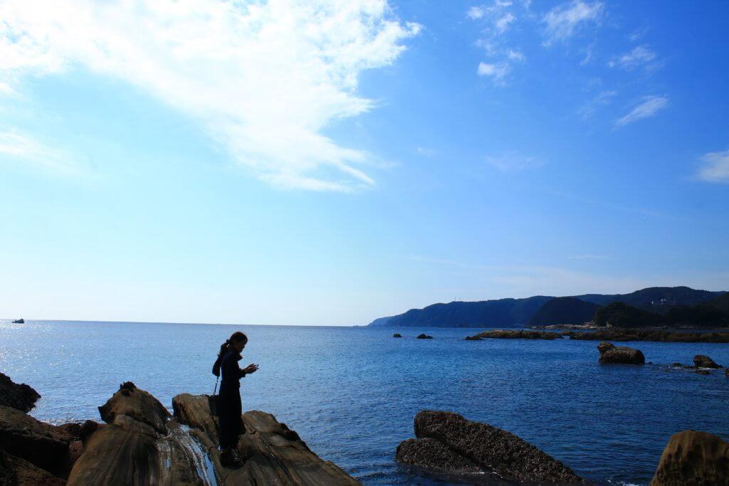竜串海岸での風景:海と空
