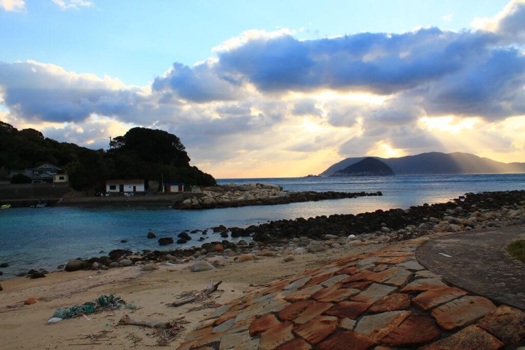 冬の柏島の夕日