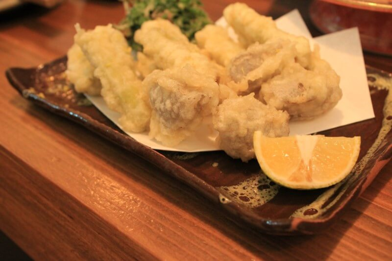 居酒屋帰家:四方竹とこんにゃくの天ぷら