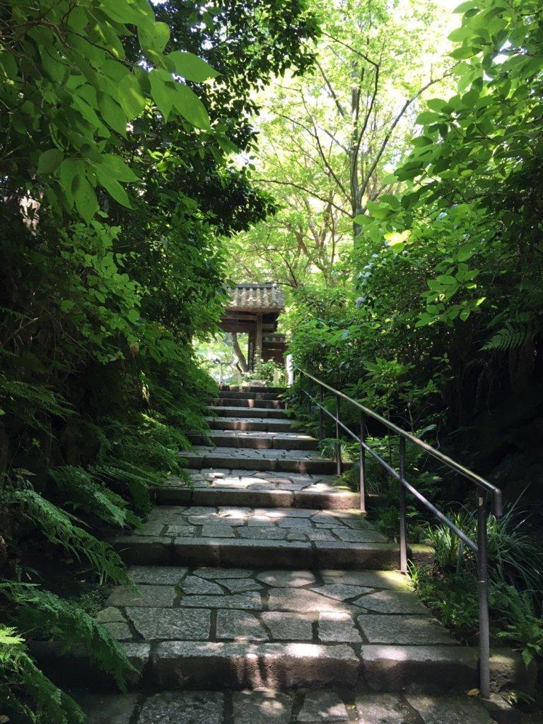 瑞泉寺の本堂へ向かう階段