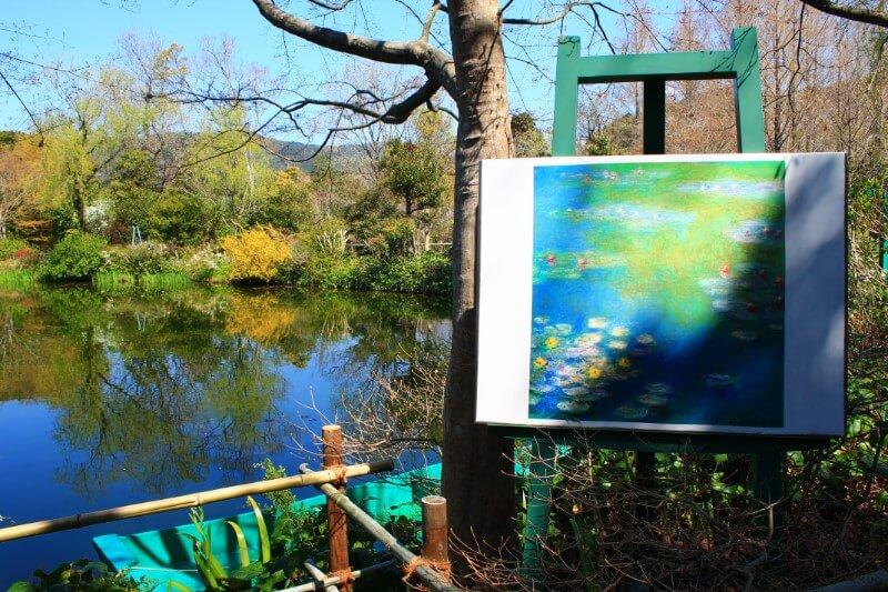モネの庭の池 絵と一緒に見よう